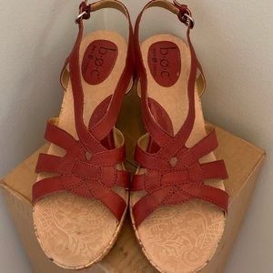 B.O.C. pre-owned red wedge sandals